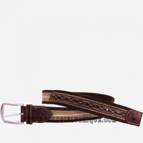 Cinturon elastico marron para verano acabado en piel de Ubrique