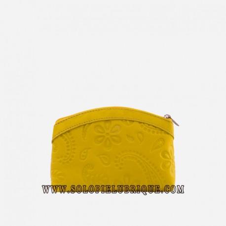 Organizador de maquillaje amarillo frontal