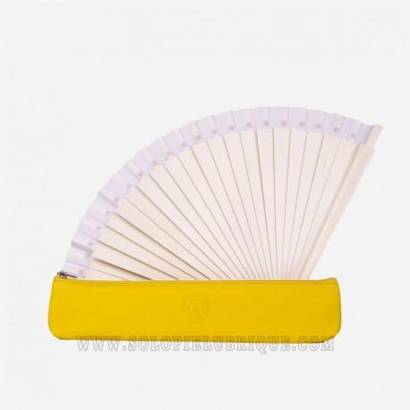Funda piel abanico barata amarilla abanico