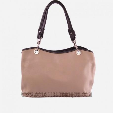 Bolsos cuero mujer beige y marrón frontal
