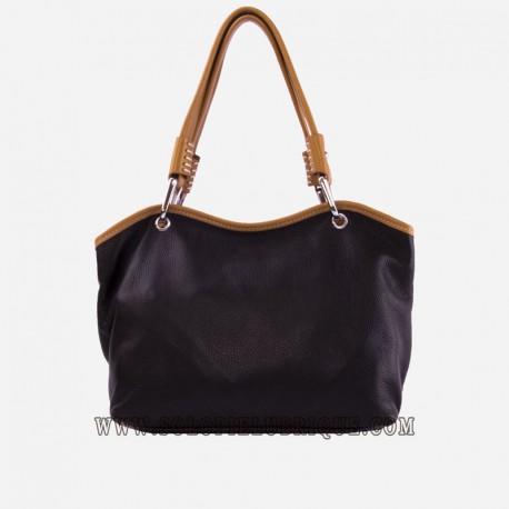 Bolsos cuero mujer negro y marrón claro frontal
