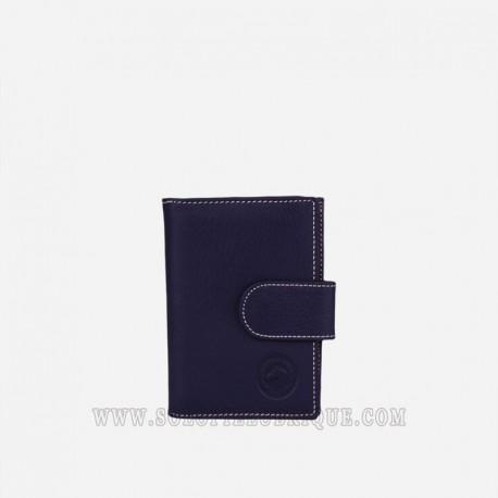 Cartera billetera mujer azul frontal