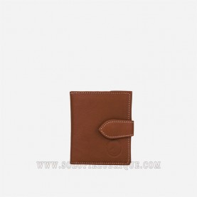 Billetera con monedero marron claro frontal
