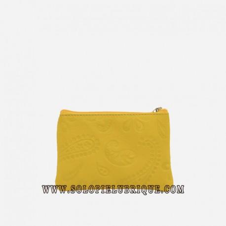 Monederos mujer baratos amarillo frontal